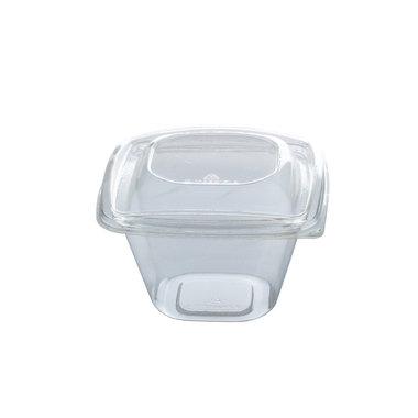 PLA saladebakje + deksel transparant 480ml