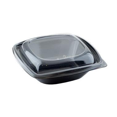 PLA saladebakje + deksel zwart/transparant 720ml/192x192x65mm